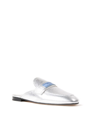 Prada: Loafers & Slippers online - Etiquette metallic leather slippers