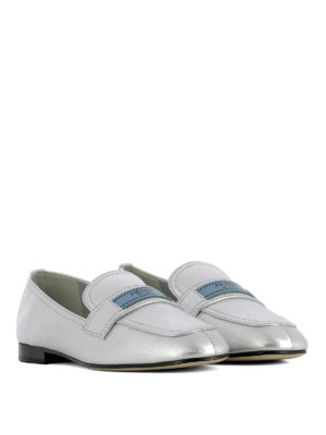 Prada: Loafers & Slippers online - Logo label silver leather loafers