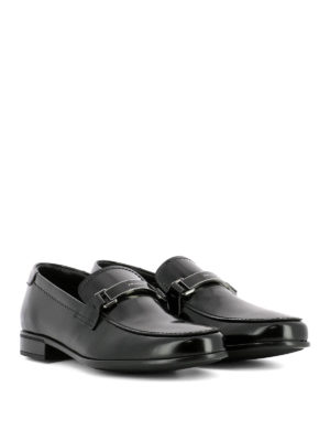 Prada: Loafers & Slippers online - Logo pennybar leather loafers