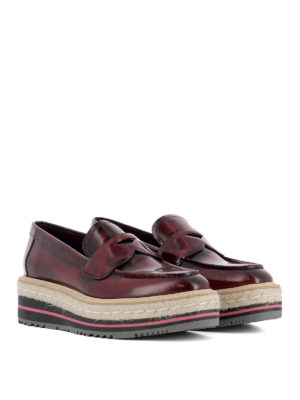 Prada: Loafers & Slippers online - Rubber and jute leather loafers