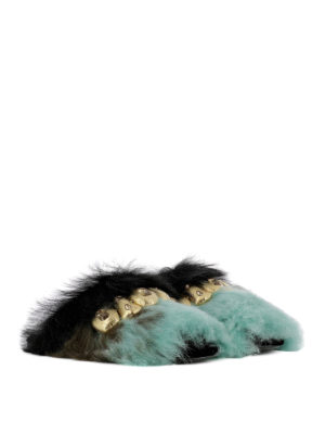Prada: Loafers & Slippers online - Shearling inserts jewel slippers