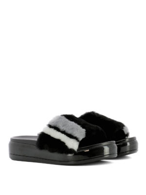 Prada: Loafers & Slippers online - Shearling inserts leather slippers