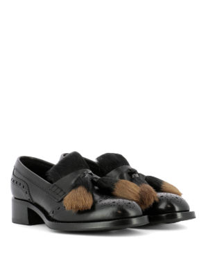 Prada: Loafers & Slippers online - Shearling tassels leather loafers