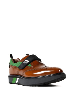 Prada: Loafers & Slippers online - Velcro strap bicolour Oxford shoes