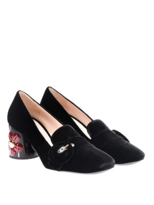 Prada: Loafers & Slippers online - Velvet loafers with flower details