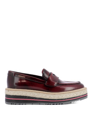 Prada: Loafers & Slippers - Rubber and jute leather loafers