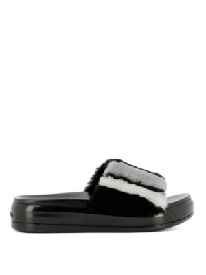 Prada: Loafers & Slippers - Shearling inserts leather slippers