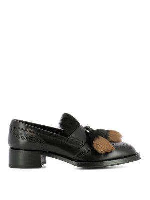 Prada: Loafers & Slippers - Shearling tassels leather loafers