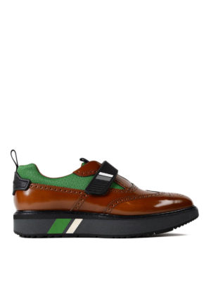 Prada: Loafers & Slippers - Velcro strap bicolour Oxford shoes