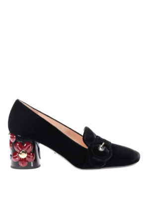 Prada: Loafers & Slippers - Velvet loafers with flower details