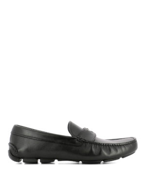 Prada: Loafers & Slippers - Woven rubber sole leather loafers