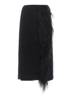 Prada: Long skirts - Feathers insert silk skirt