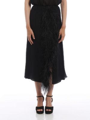 Prada: Long skirts online - Feathers insert silk skirt