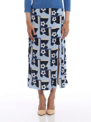 Prada: Long skirts online - Patterned jersey crepe skirt