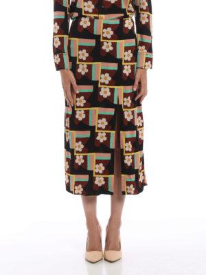 Prada: Long skirts online - Patterned jersey crepe skirt