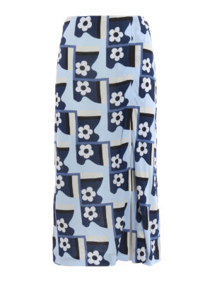 Prada: Long skirts - Patterned jersey crepe skirt