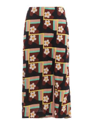 Prada: Long skirts - Patterned jersey crepe skirt