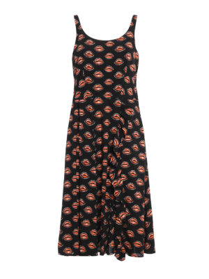 Prada: maxi dresses - Kiss print sablé sleeveless dress