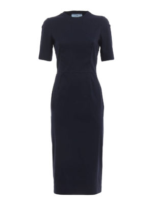 Prada: maxi dresses - Stretch poplin long sheath dress