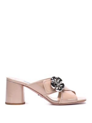Prada: mules shoes - Embellished patent leather mules