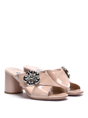 Prada: mules shoes online - Embellished patent leather mules