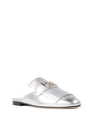 Prada: mules shoes online - Metallic madras leather loafers