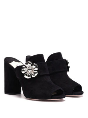 Prada: mules shoes online - Suede open toe jewel mules