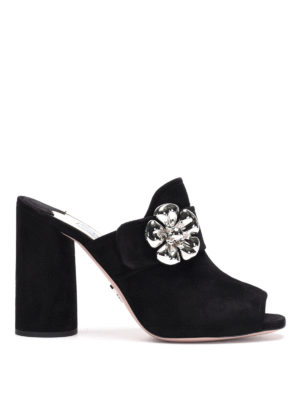 Prada: mules shoes - Suede open toe jewel mules