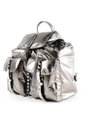 PRADA: zaini online - Zaino in nylon lucido con cinturini borchiati