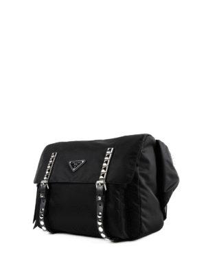 PRADA: marsupi online - Marsupio in nylon nero con borchie argento