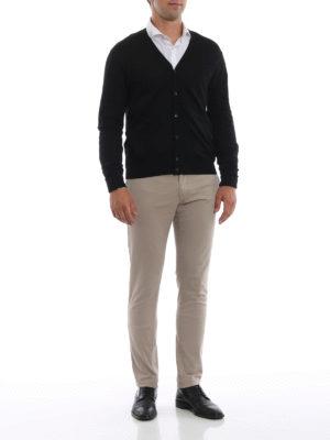 PRADA: cardigan online - Cardigan leggero nero in lana pettinata