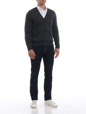 PRADA: cardigan online - Cardigan leggero antracite in lana pettinata
