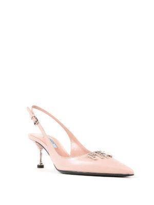 PRADA: scarpe décolleté online - Slingback in pelle con logo