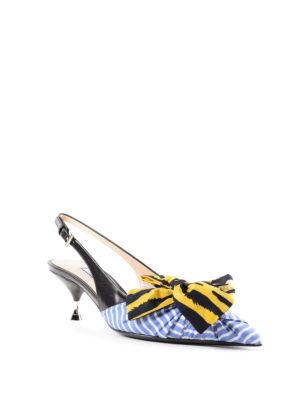 PRADA: scarpe décolleté online - Slingback a righe con fiocco