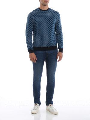 PRADA: maglia collo rotondo online - Girocollo blu in lana a rombi