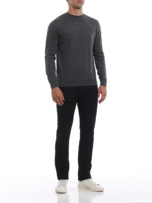 PRADA: maglia collo rotondo online - Pull girocollo grigio in lana pettinata