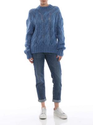 PRADA: maglia collo rotondo online - Pull azzurro in misto mohair a trecce