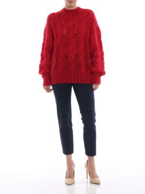 PRADA: maglia collo rotondo online - Pull rosso in misto mohair a trecce