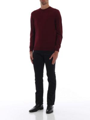 PRADA: maglia collo rotondo online - Maglia in pura lana pettinata amaranto