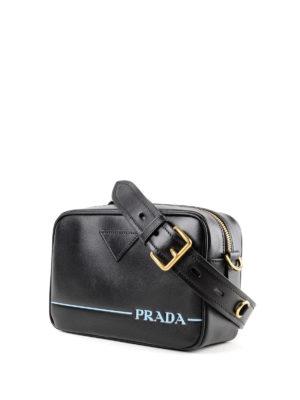 PRADA: borse a tracolla online - Tracolla Mirage in pelle con logo serigrafato
