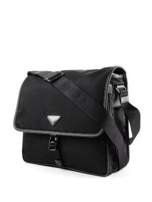 PRADA: borse a tracolla online - Borsa in nylon con profili in saffiano