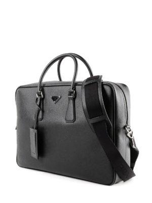 PRADA: borse da ufficio online - Borsa da lavoro in pelle saffiano nera
