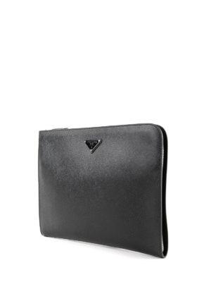 PRADA: borse da ufficio online - Portadocumenti in pelle saffiano con zip