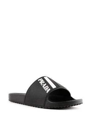 PRADA: sandali online - Ciabattine nere con logo