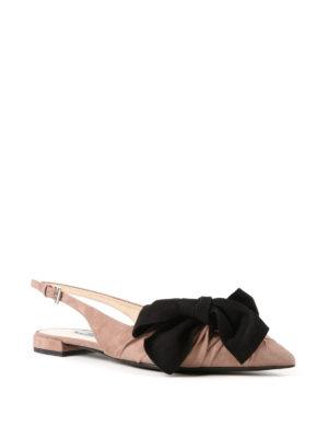 PRADA: sandali online - Slingback in camoscio con fiocco