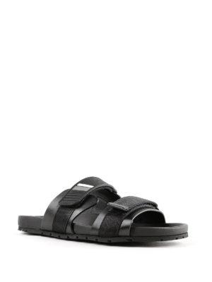 PRADA: sandali online - Sandali a fasce in pelle con strappi