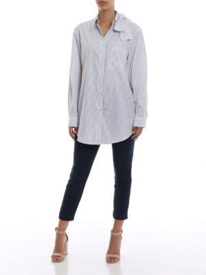 PRADA: camicie online - Camicia in popeline a righe con fiocco