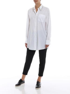 PRADA: camicie online - Camicia over in cotone con colletto gioiello