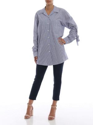 PRADA: camicie online - Camicia in popeline a righe con fiocchi