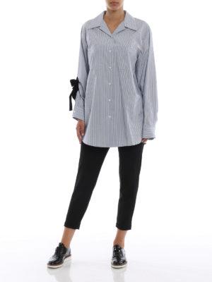 PRADA: camicie online - Camicia a righe con fiocco in velluto